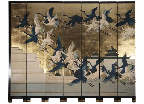Twelve Panel Screen Depicting Birds in Flight