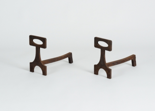 Pair of Geometric Andirons