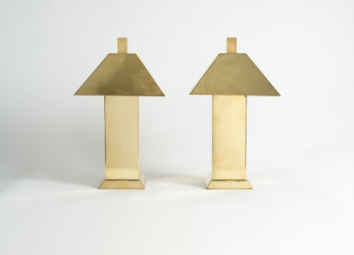 Pair of Lamps with Metal Shades