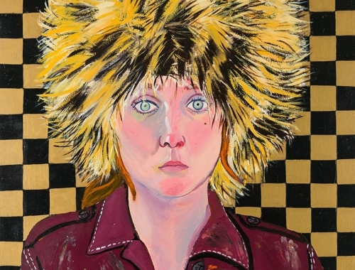 Detail of a painting by Joan Brown titled Self Portrait in Fur Hat from 1972