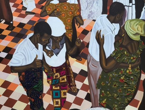 Painting by Cornelius Annor titled A Night with Osibisa from 2021