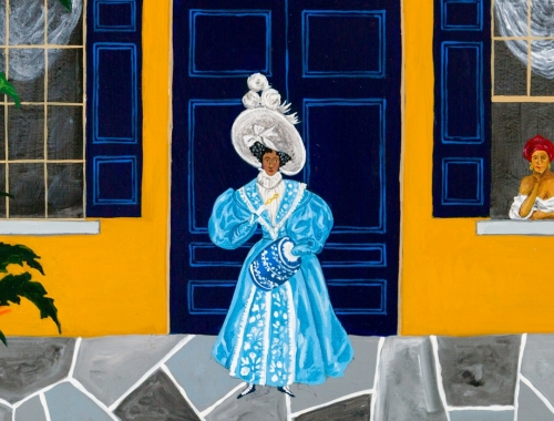 Detail of a painting by Andrew LaMar Hopkins titled Madame de Boisblanc Lodger, 2020