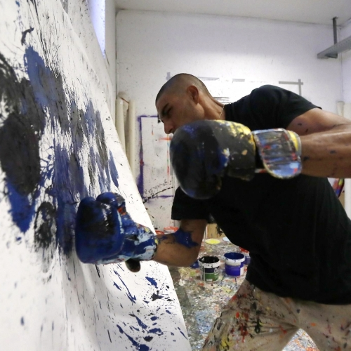Artist Gets Out His Boxing Gloves To Create