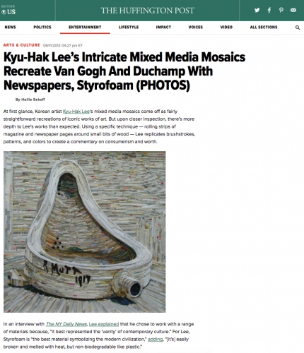 Kyu-Hak Lee's Intricate Mixed Media Mosaics Recreate Van Gogh And Duchamp With Newspapers, Styrofoam
