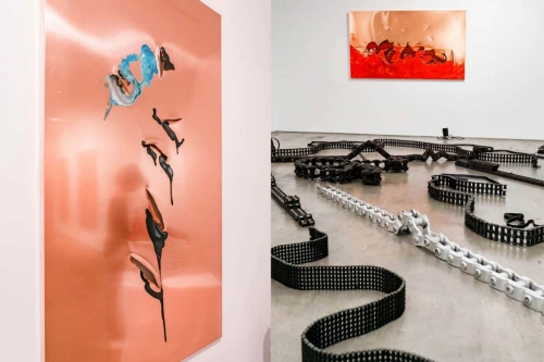 Image of Chains and Copper Panels by Franz Klainsek at the Chelsea art gallery of Philippe Hoerle-Guggenheim, Curator