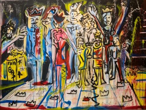 Sanz painting of Royal Family at Smile at Hg Contemporary