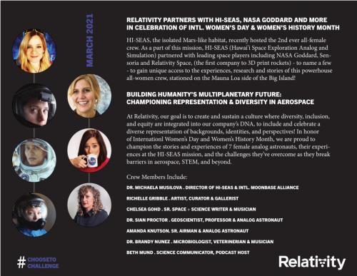Relativity Space teams with HI-SEAS, NASA to celebrate International Women's Day