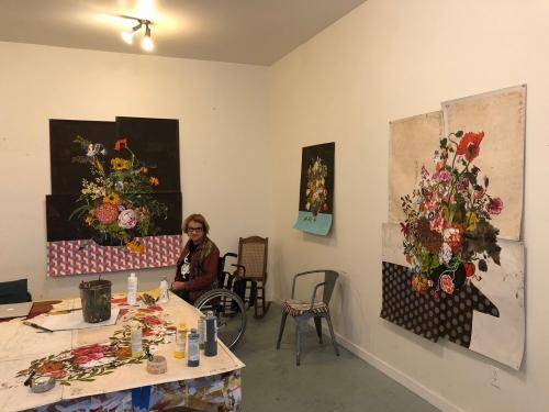Katherine Sherwood in her studio, Rodeo, CA