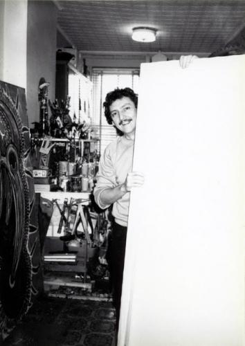 Luis Cruz Azaceta in his Queens studio circa the early 1980s.