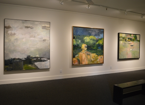 Pictured, left to right: Estuary, 1962; Figure Seated in a Backyard, 1959; Figures in Landscape, 1956; installed at Marin MoCA.