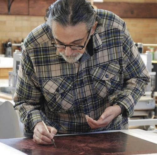 Enrique Chagoya at work, 2019