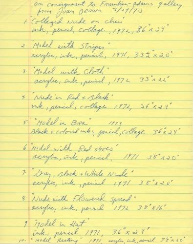 Joan Brown handwritten checklist of drawings