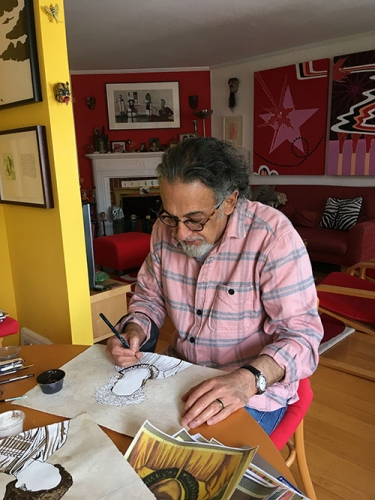 Enrique Chagoya working at home.