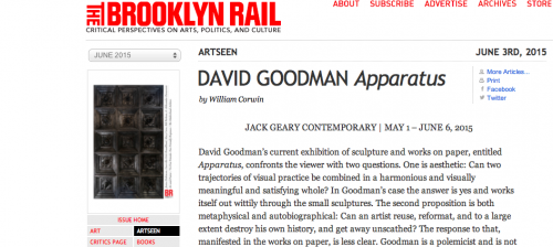 Brooklyn Rail: DAVID GOODMAN Apparatus