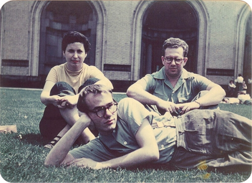 Photograph of Pearlstein, Warhol and Cantor in college