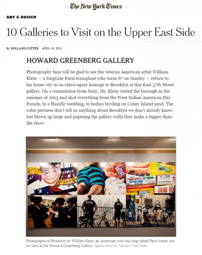 Howard Greenberg Gallery - New York Times - Galleries - Upper East Side - William Klein - Brooklyn+Klein - 2015
