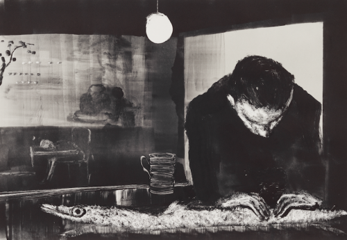 Black and white painting of man at bar