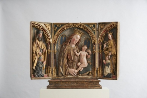 Virgin and Child triptych relief sculpture