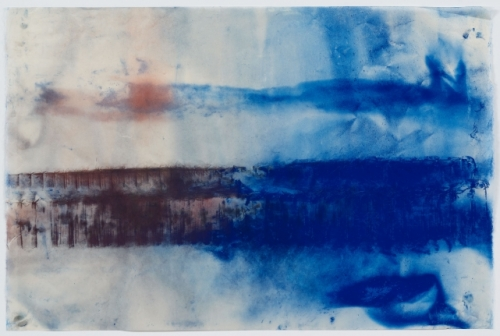 Moran blue abstraction on paper