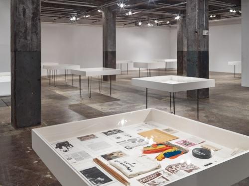 tabletop vitrines in art gallery