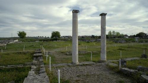 2 ancient columns in landscape