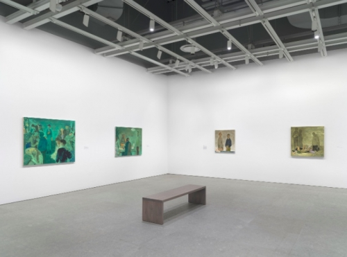 Salman Toor exhibition view, Whitney Museum, 4 paintings