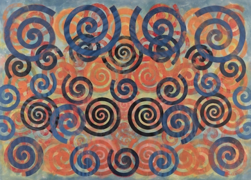 Taaffe Choir painting with blue spirals