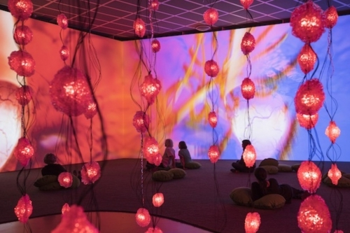 Rist video installation, red and blue room