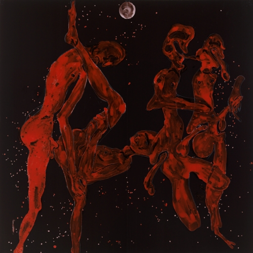 Hiorns painting red figures on black