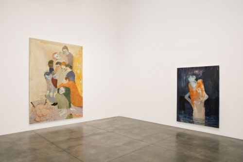 2 figurative paintings on wall