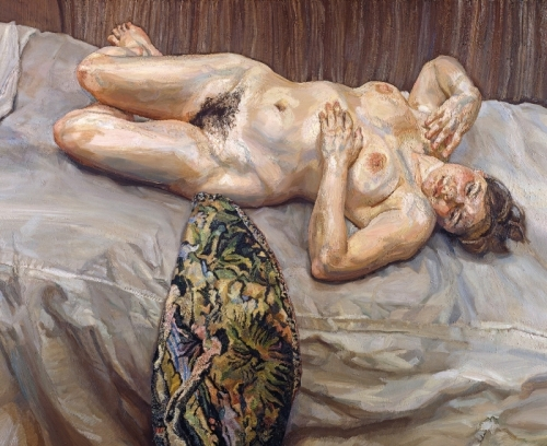 """Lucian Freud, """"Portrait on Gray Cover"""" (1996), oil on canvas, 47 3⁄4 x 60 7/8 inches, Private Collection"""