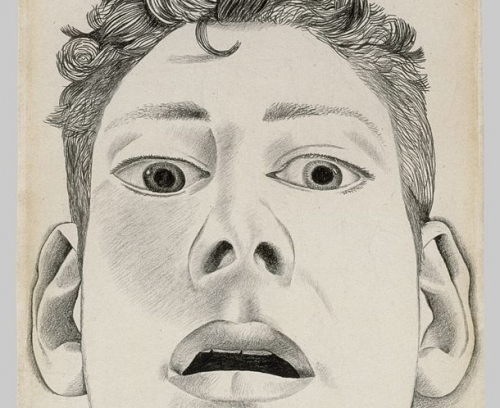 "Lucian Freud's early drawing ""Startled man (self-portrait),"" 1948"