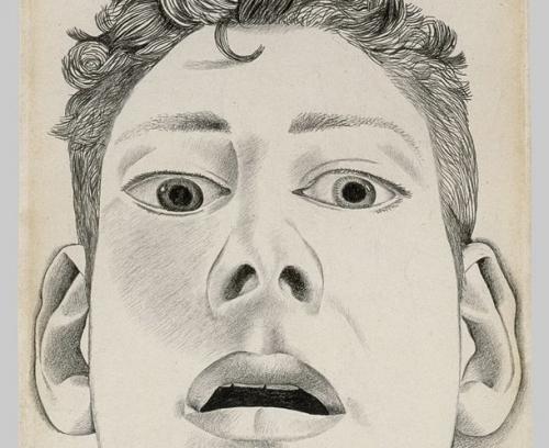 "Lucian Freud's early drawing ""Startled man (self-portrait),"" 1948"