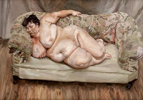 Lucian Freud, Benefits Supervisor Sleeping, 1995, oil on canvas, 59 5/8 x 86 in. Private collection.