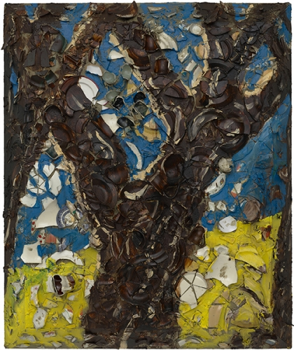 A painting by Julian Schnabel titled Trees of Home (for Peter Beard) 1, 2020