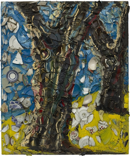 Oil painting on plates on wood by Julian Schnabel titled Trees of Home (for Peter Beard) 2, 2020