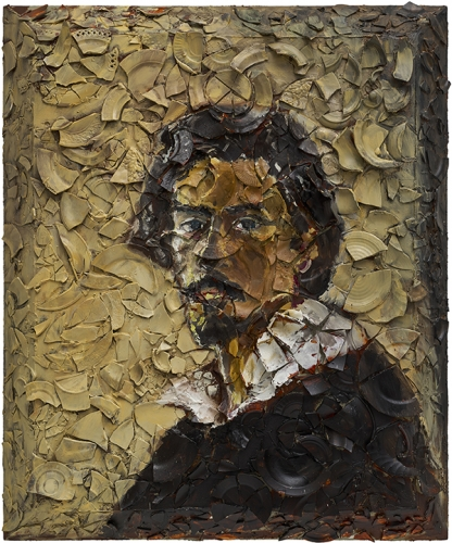 Oil painting on plates on wood by Julian Schnabel titled Number 1 (Self Portrait of Caravaggio, Oscar Isaac)