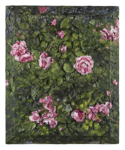 Oil painting on plates on wood by Julian Schnabel titled Rose Painting (Near Van Gogh's Grave) III, 2015