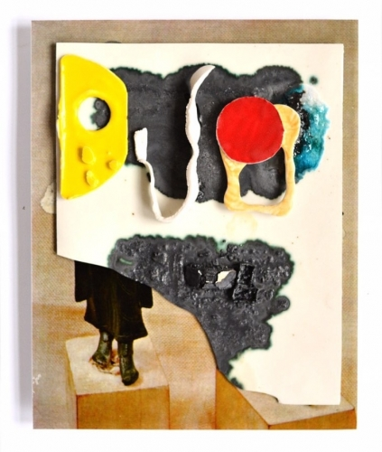 Collage: Ceramic on print by Marjolijn de Wit