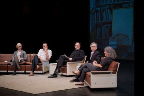 Four UCLA faculty members discussing the meaning of space at a panel, featuring Rodrigo Valenzuela