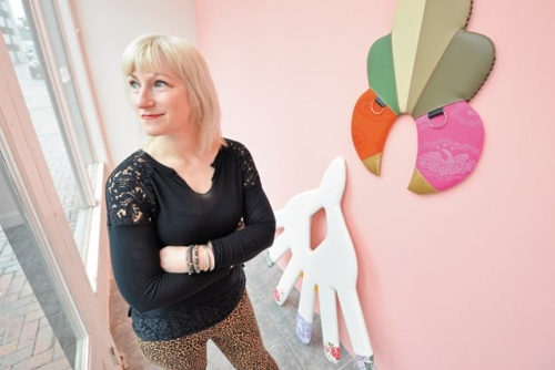 Trish Tillman with her sculptures