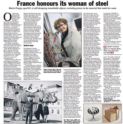 Art Newspaper Features Maria Pergay