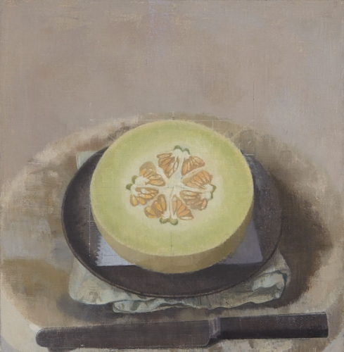 Susan Jane Walp, Melon Sliced Open on a Black Plate with Knife, 2015