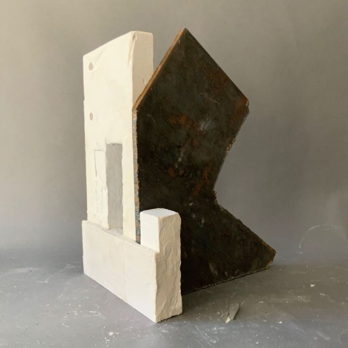"""Mark Webber. Untitled Structure. 2019. Hydrocal and steel. 12"""" x 9"""" x 8"""""""