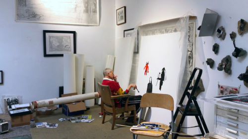 Derek Boshier in his Los Angeles studio.