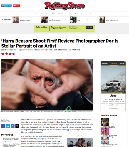 'Harry Benson: Shoot First' Review: Photographer Doc Is Stellar Portrait of an Artist - Rolling Stone