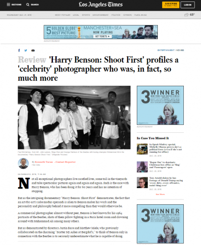 Harry Benson: Shoot First' profiles a 'celebrity' photographer who was, in fact, so much more. - LA Times