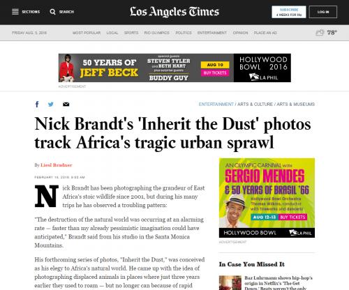 Nick Brandt's 'Inherit the Dust' photos track Africa's tragic urban sprawl - LA Times