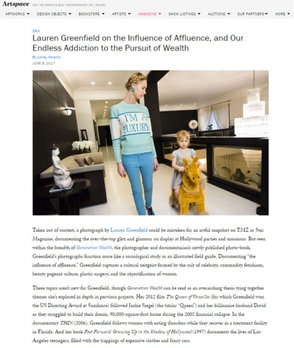 Lauren Greenfield on the Influence of Affluence, and Our Endless Addiction to the Pursuit of Wealth - Artspace
