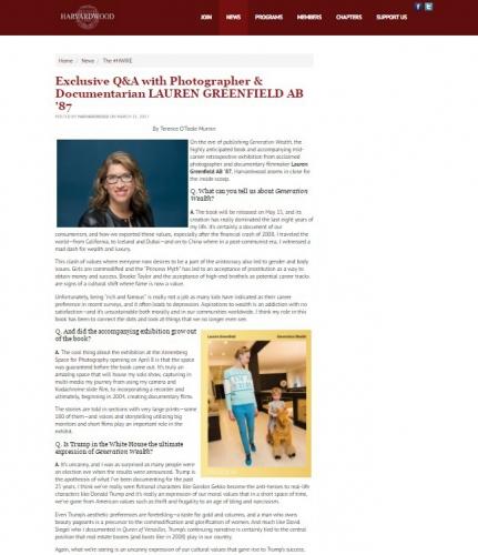 Exclusive Q & A with Lauren Greenfield - Harvardwood